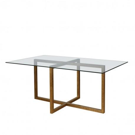 Mesa de comedor con cristal y forja