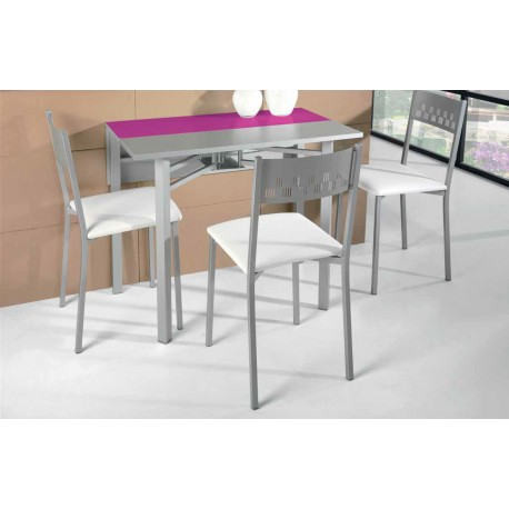 Conjunto de mesa plegable y sillas de cocina modelo ciruela for Sillas de colores para cocina