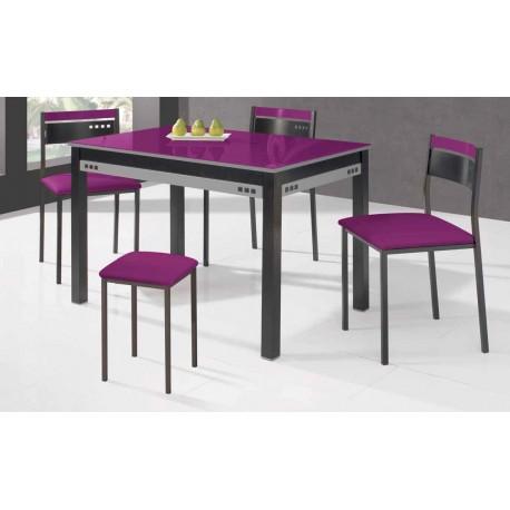 Conjunto de mesa extensible, sillas y taburete de cocina mod Frambuesa