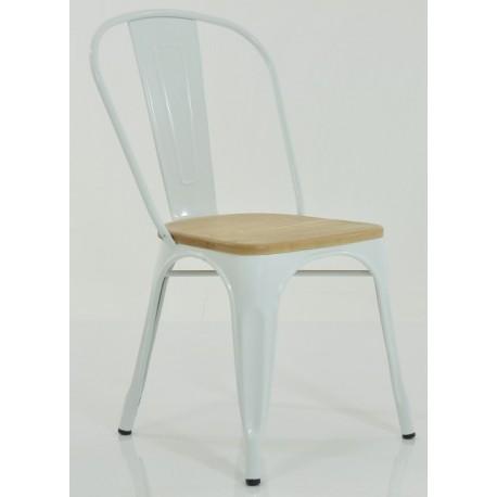 Silla de acero y asiento de madera modelo Industrial