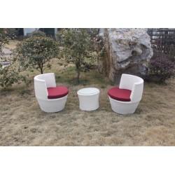 Conjunto de mesa y sillones aluminio rattan modelo Bolonia Blanco
