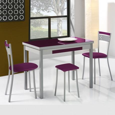 Conjunto de mesa extensible alas, sillas y taburetes de cocina mod A