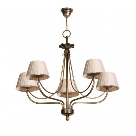Lámpara de techo modelo Min de 5 pantallas acabado en bronce