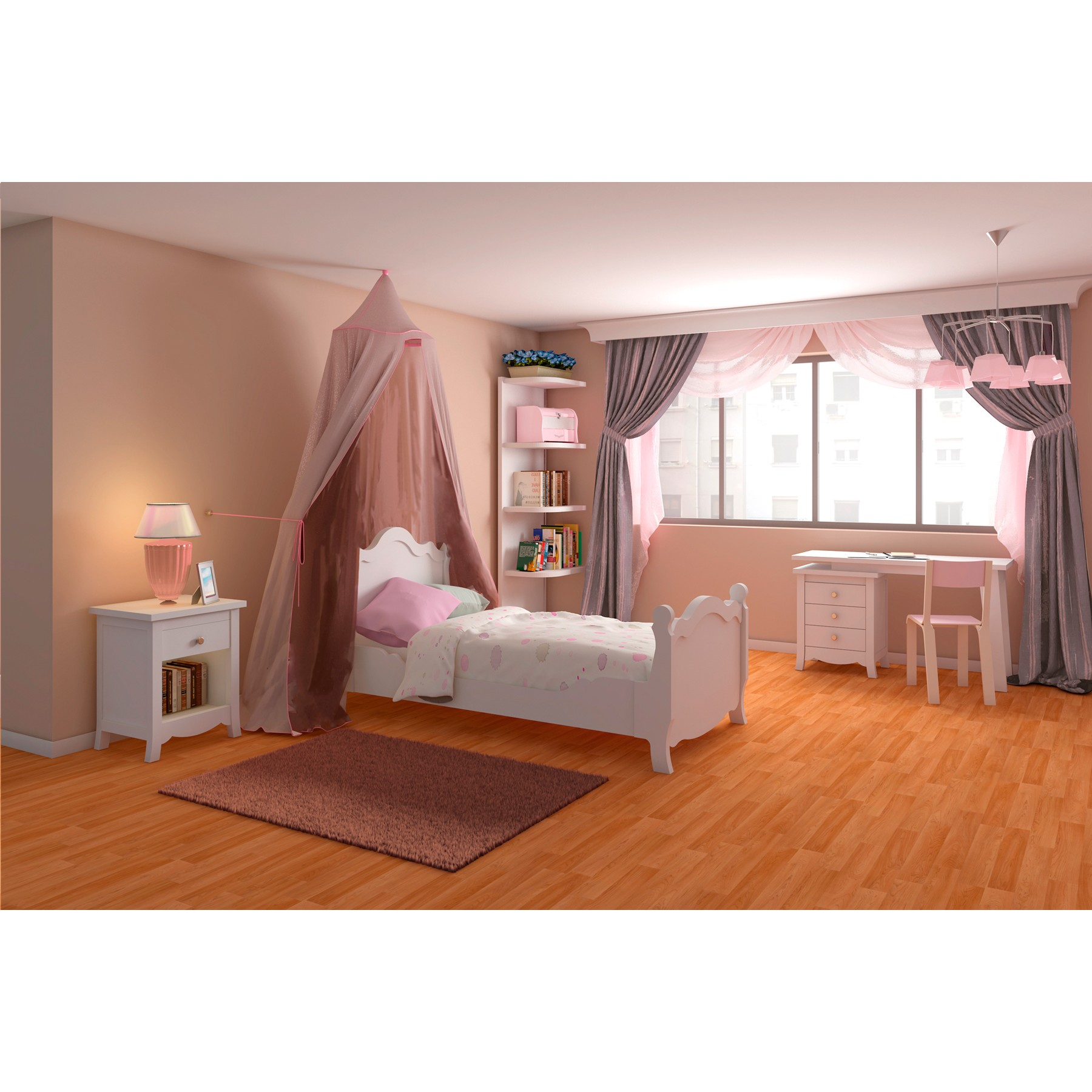 Conjunto de muebles para dormitorio juvenil completo de for Espejo dormitorio juvenil