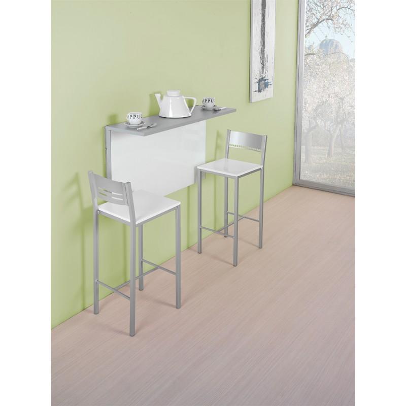 Conjunto de mesa de cocina de pared abatible y taburetes for Mesa abatible conforama