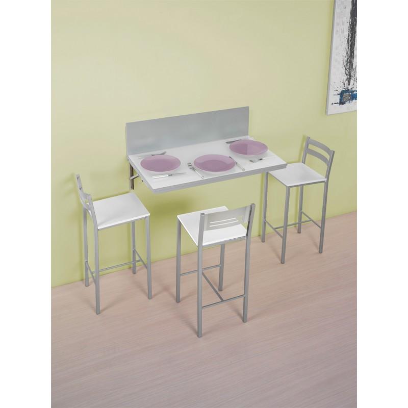 Conjunto de mesa de cocina de pared abatible y taburetes - Mesa abatible cocina ...