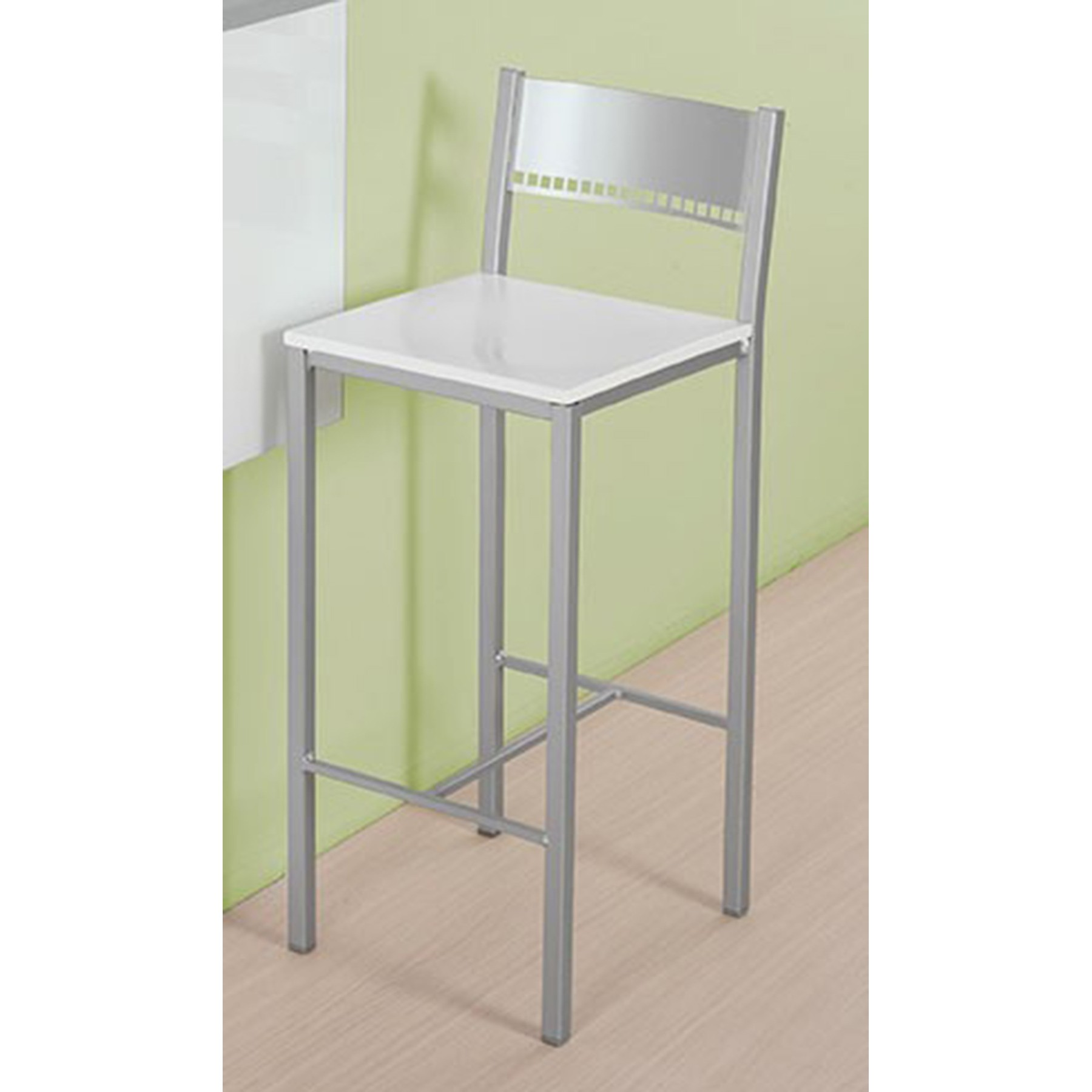 Conjunto de mesa para pared y taburetes de cocina modelo e for Mesa abatible pared cocina