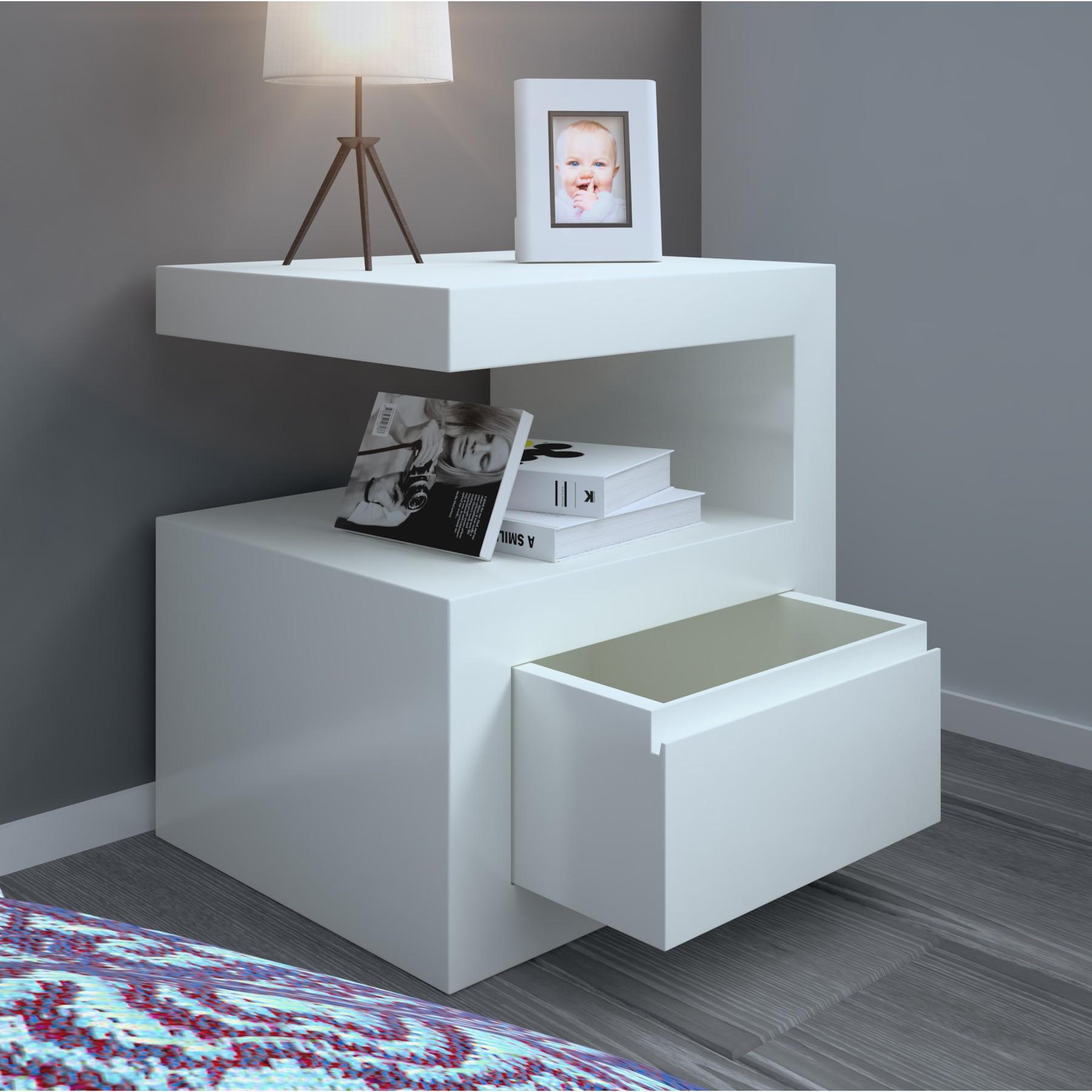 Mesita de noche moderna lacada de dise o modelo 69e - Mesas de noche modernas ...