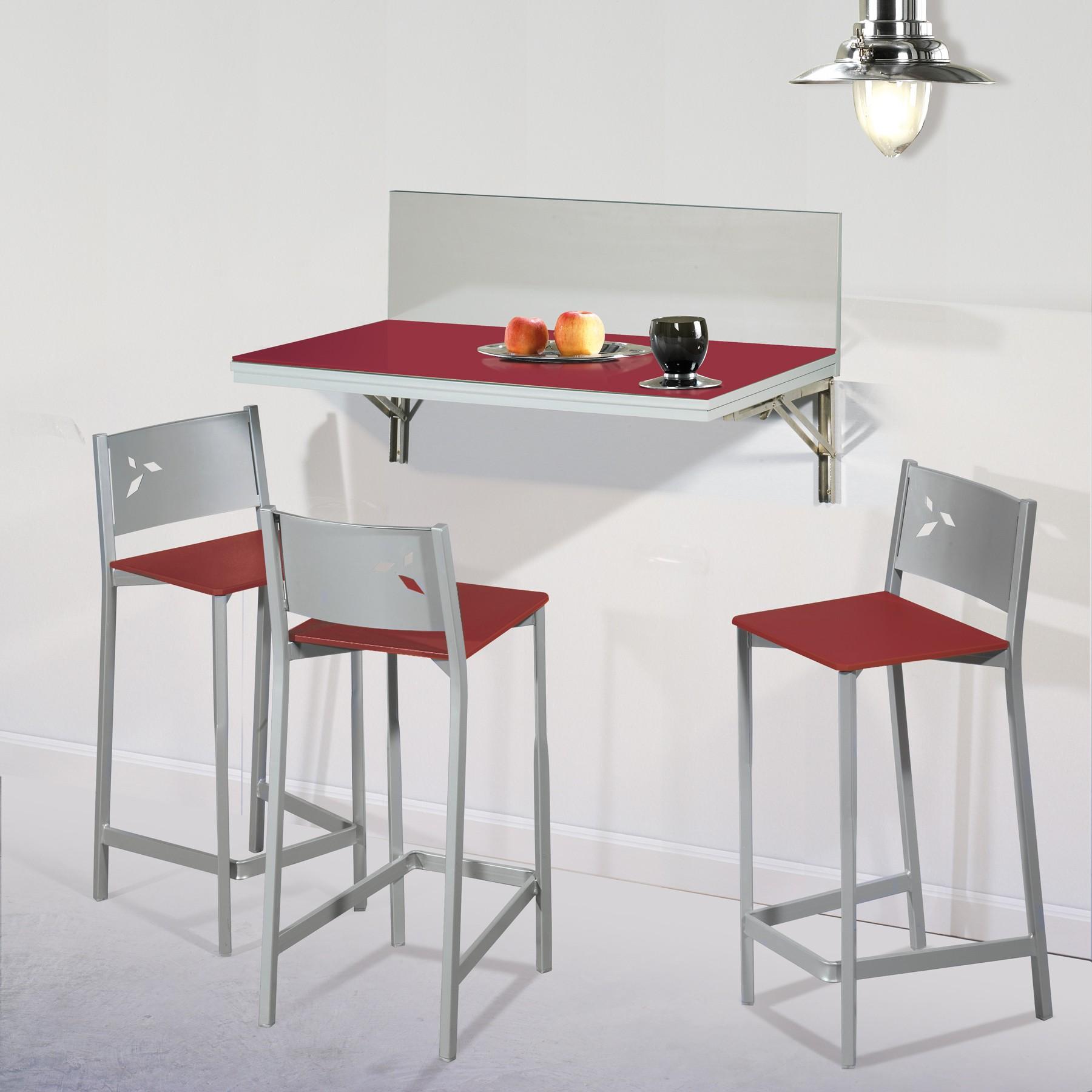 Pack ahorro en mesa de cocina de pared con dos taburetes - Sillas plegables para cocina ...