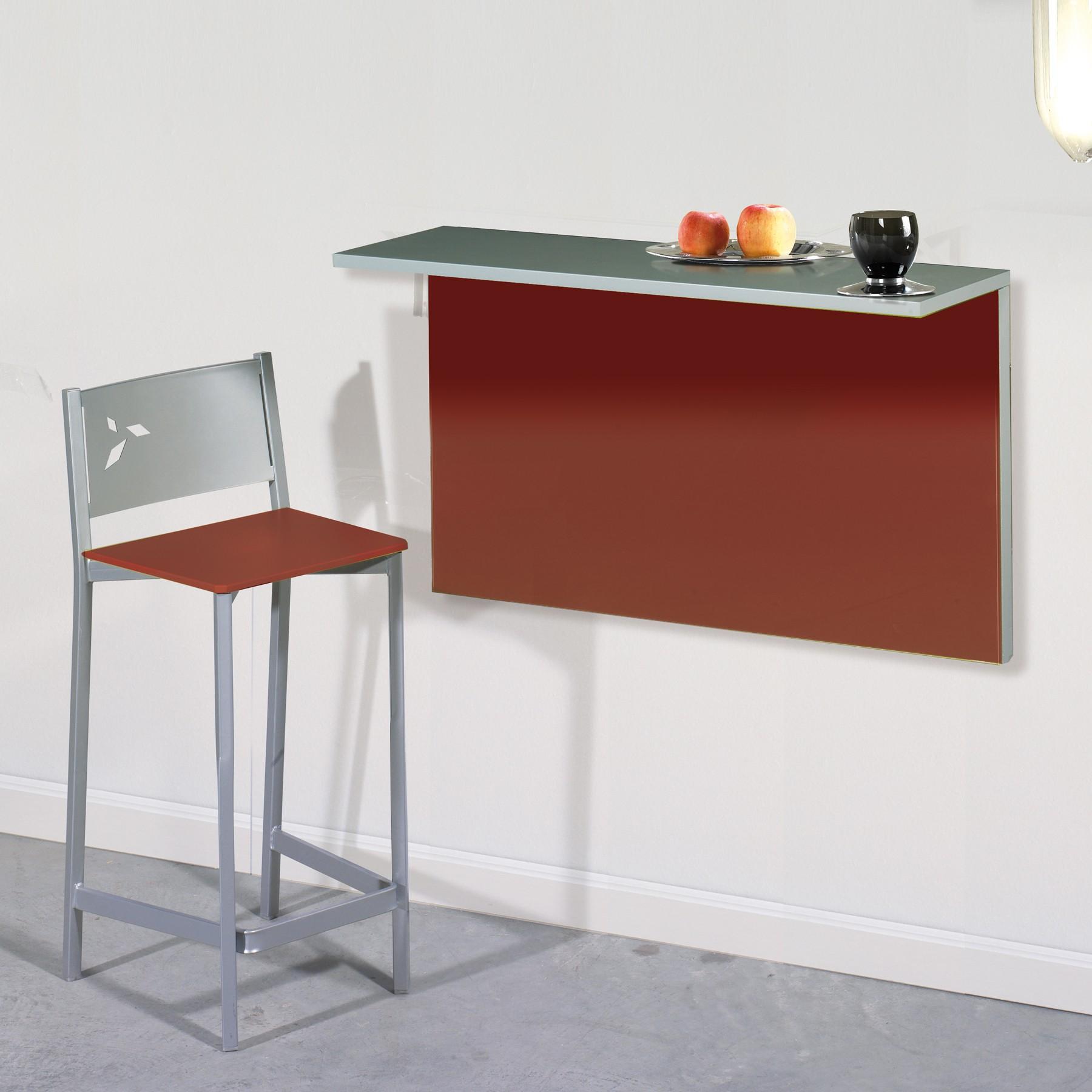 Pack ahorro en mesa de cocina de pared con dos taburetes modelo DKG.