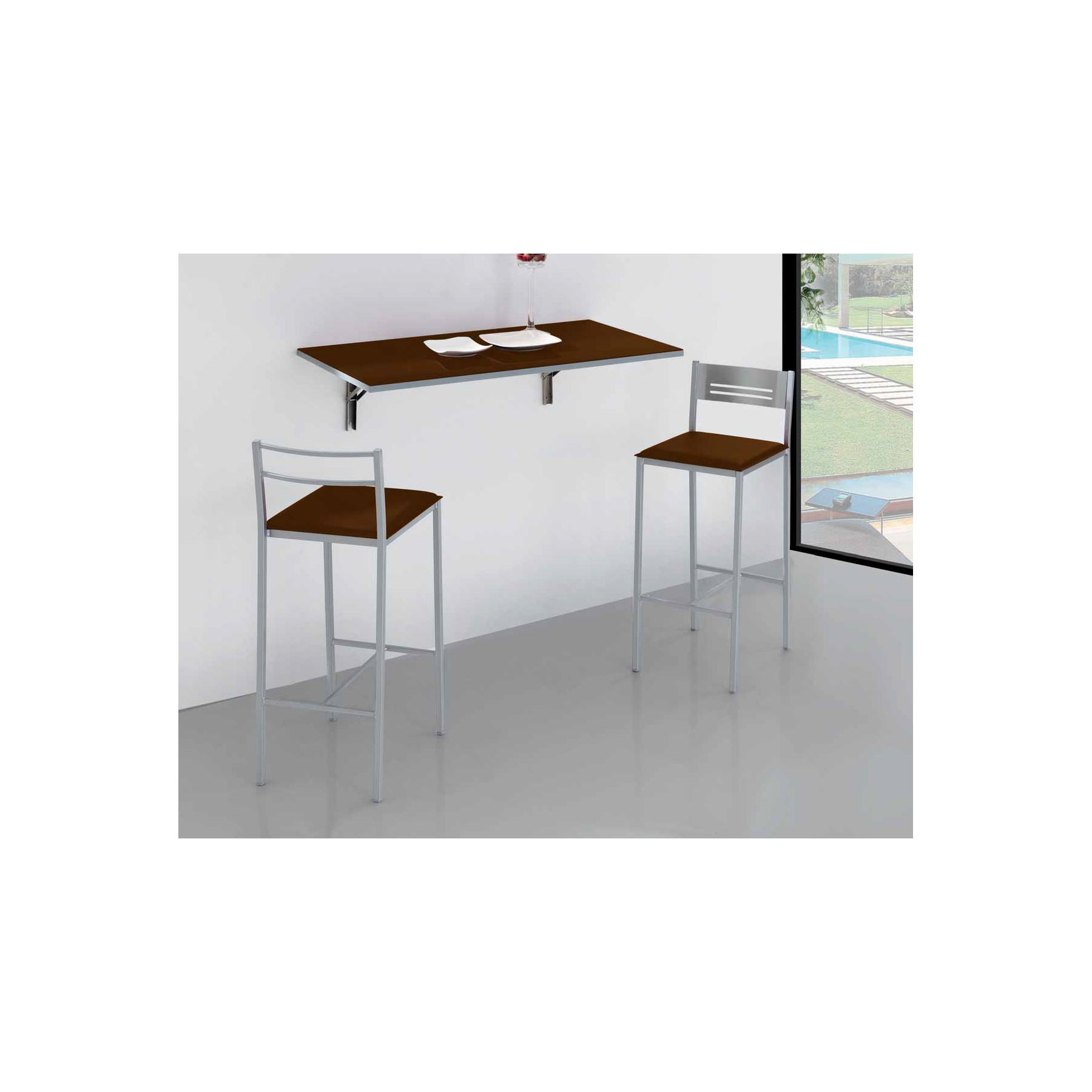 Mesa de cocina de pared plegable simple dkg for Mesa abatible pared cocina