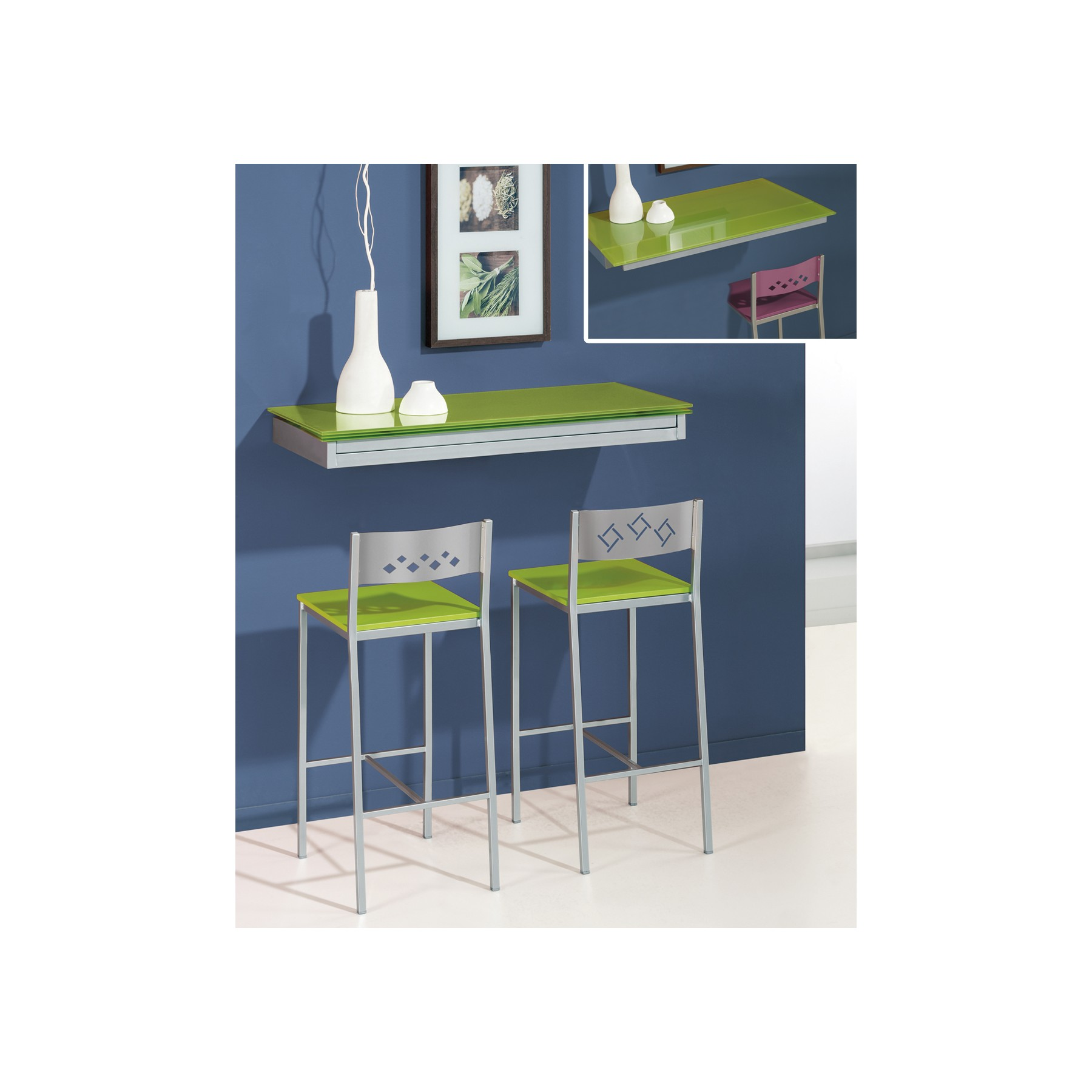 Mesa de cocina de pared extensible cool - Mesa plegable pared cocina ...