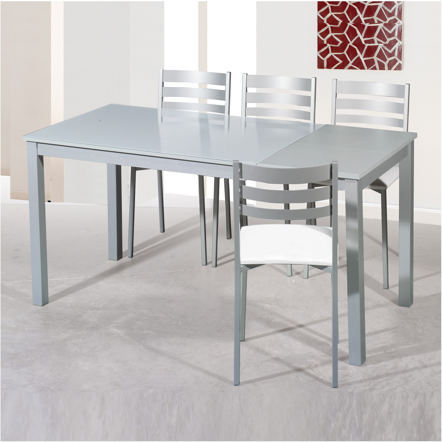 Conjunto de mesa y 2 4 sillas de comedor modelo grey - Conjunto mesa extensible y sillas comedor ...