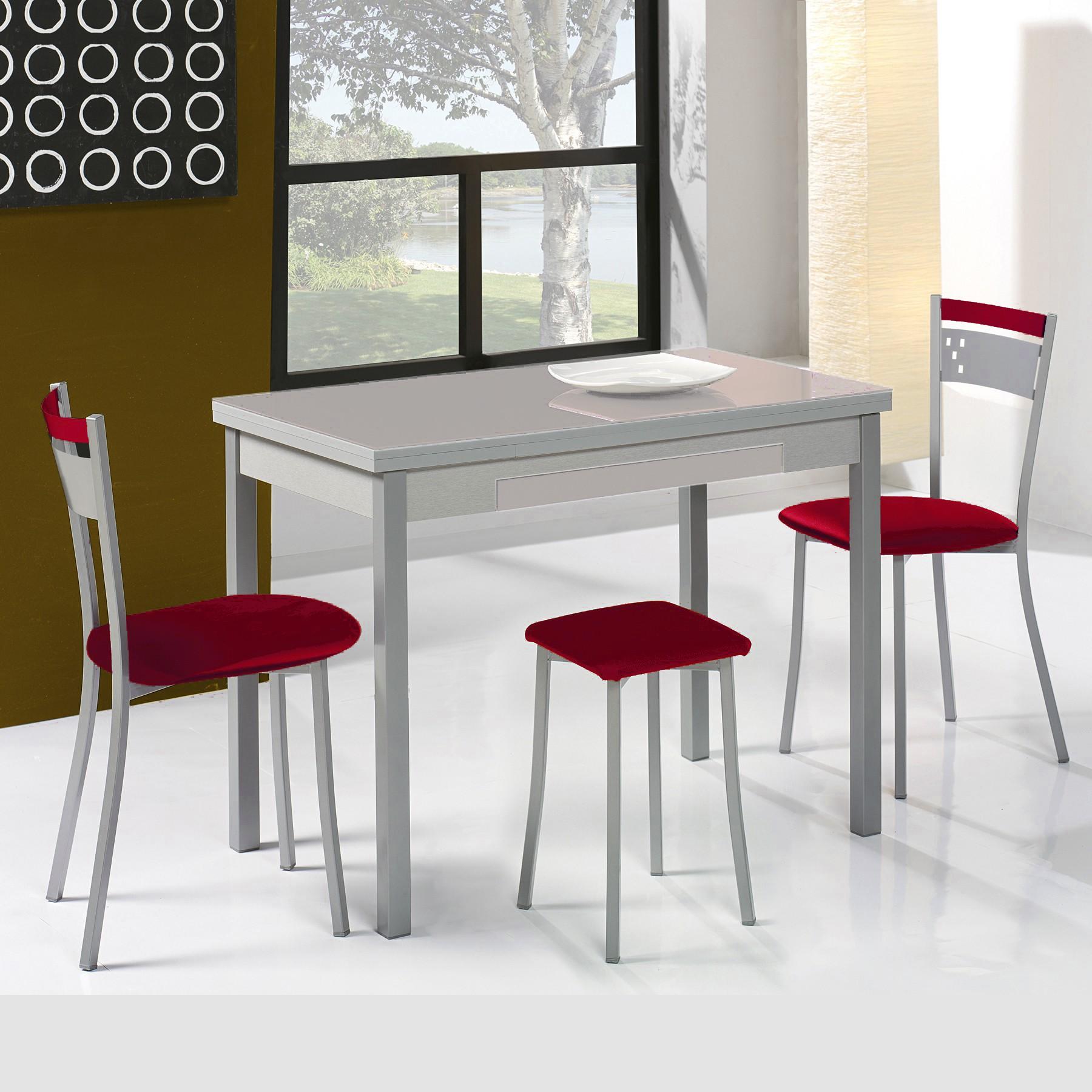 Conjunto de mesa extensible alas sillas y taburetes de - Taburetes plegables cocina ...
