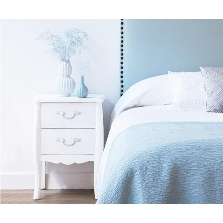 Mesita de noche lacada blanca modelo Nube