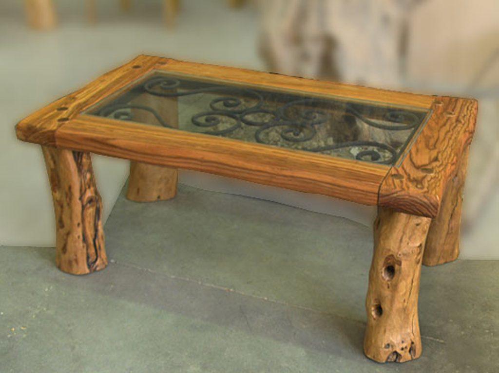 mesa de centro en madera de olivo